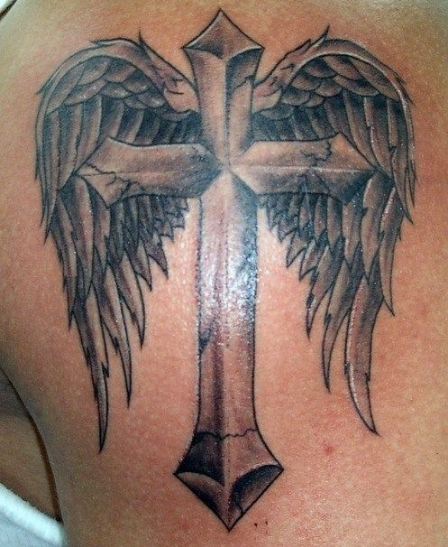 Angel Tattoos Designs: Angel Cross Wings Tattoo