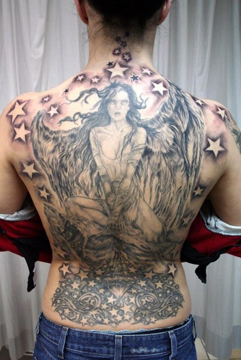 Angel Tattoos Designs: Angel Tattoo and Star