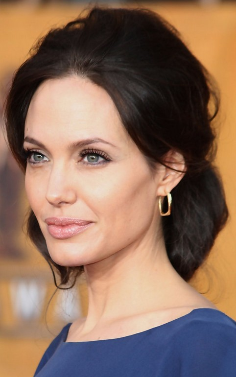 Angelina Jolie Long Hairstyle: Black Hair with Loose Bun