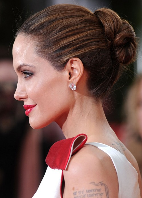 Angelina Jolie Long Hairstyle: Bobby Updo without Bangs