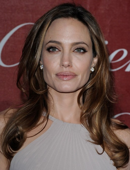 Angelina Jolie Long Hairstyle: Curls with Center Part