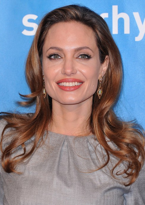 Angelina Jolie Long Hairstyle: Curls with Slightly Coiff