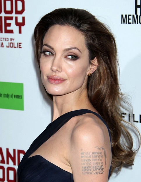 Angelina Jolie Long Hairstyle: Curls with no Bangs