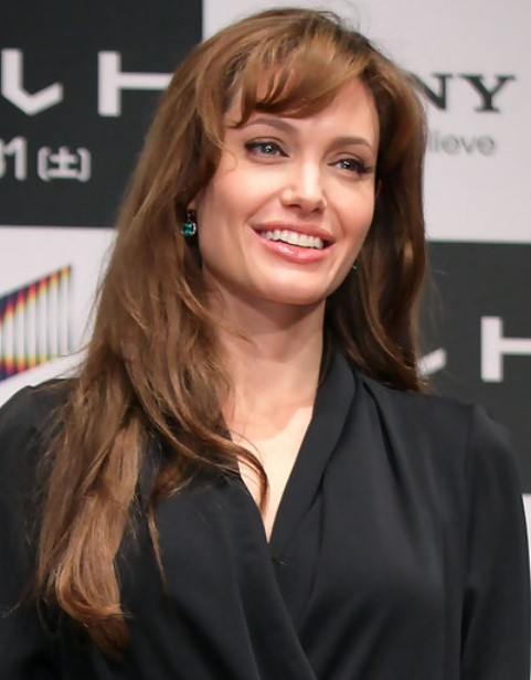 Angelina Jolie Long Hairstyle: Curly Bangs