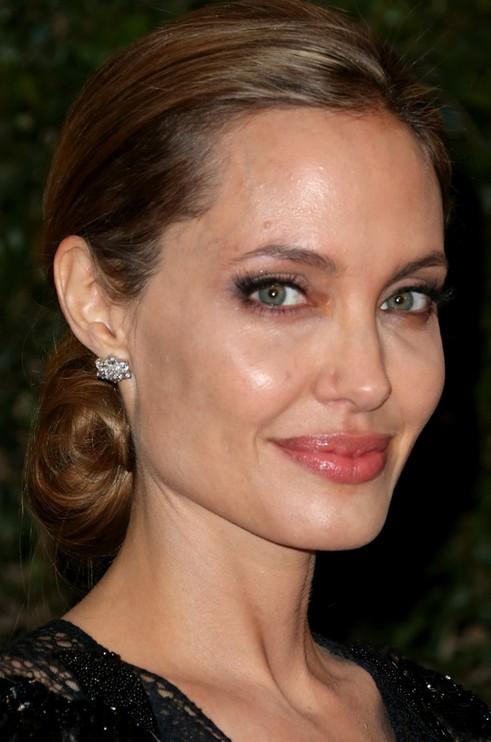 Angelina Jolie Long Hairstyle: Elegant Chignon