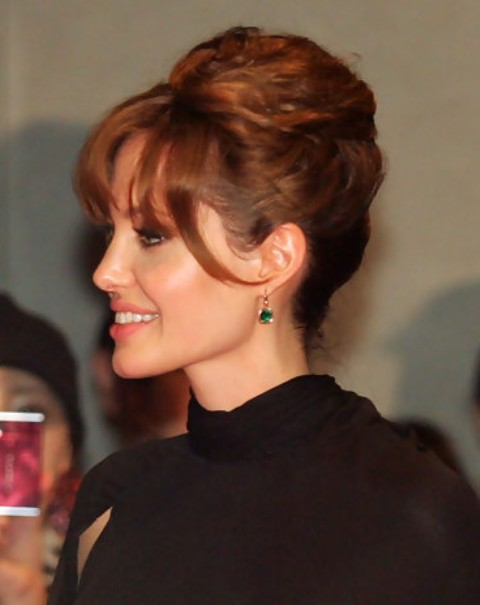 Angelina Jolie Long Hairstyle: French Twist