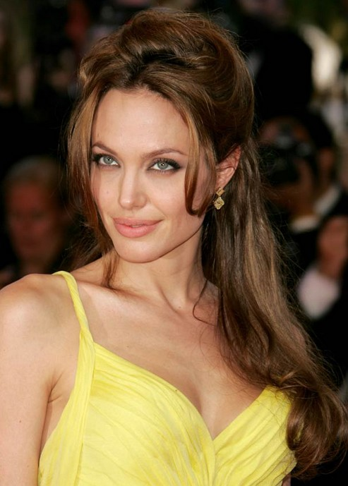 Angelina Jolie Long Hairstyle: Half Up Half Down with Side Parting