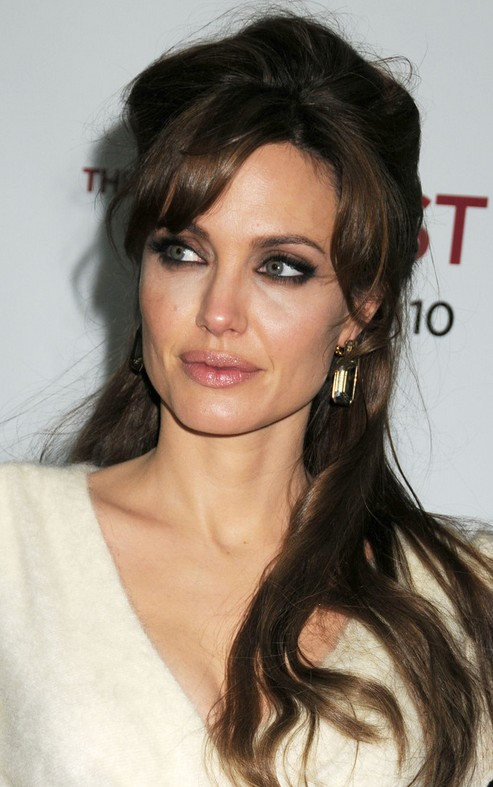 Angelina Jolie Long Hairstyle: Half Up Half Down With Bangs