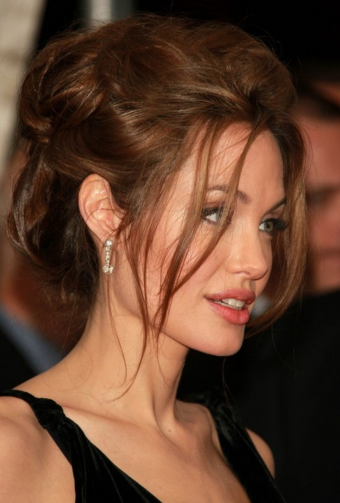 Angelina Jolie Long Hairstyle: Messy Updo