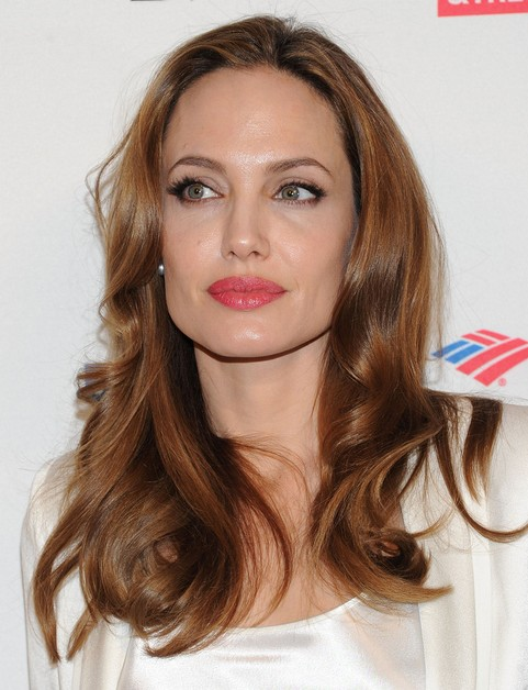 Angelina Jolie Long Hairstyle: Red Curls