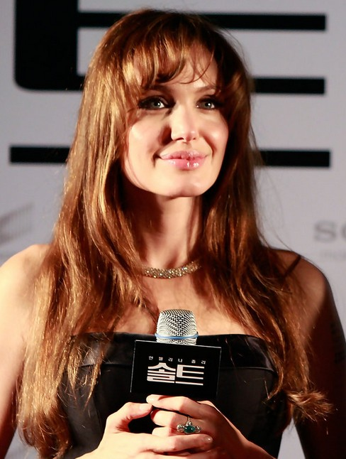 Angelina Jolie Long Hairstyle: Side-swept Bangs