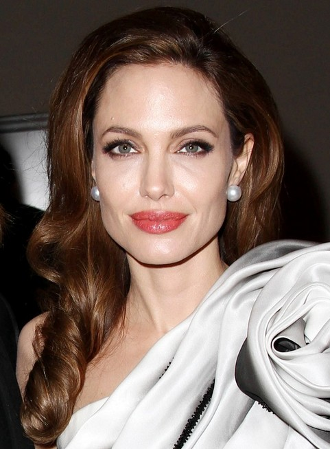 Angelina Jolie Long Hairstyle: Side-swept Curls