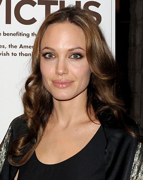 Angelina Jolie Long Hairstyle: Sleek Curls with Side Part