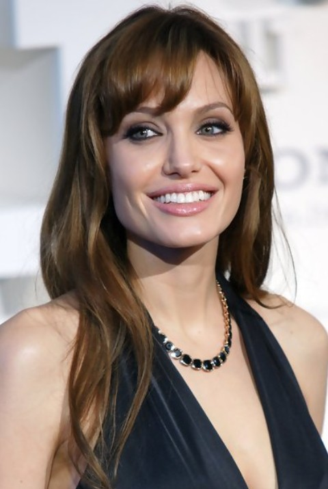Angelina Jolie Long Hairstyle: Slightly Waves with Soft Bangs