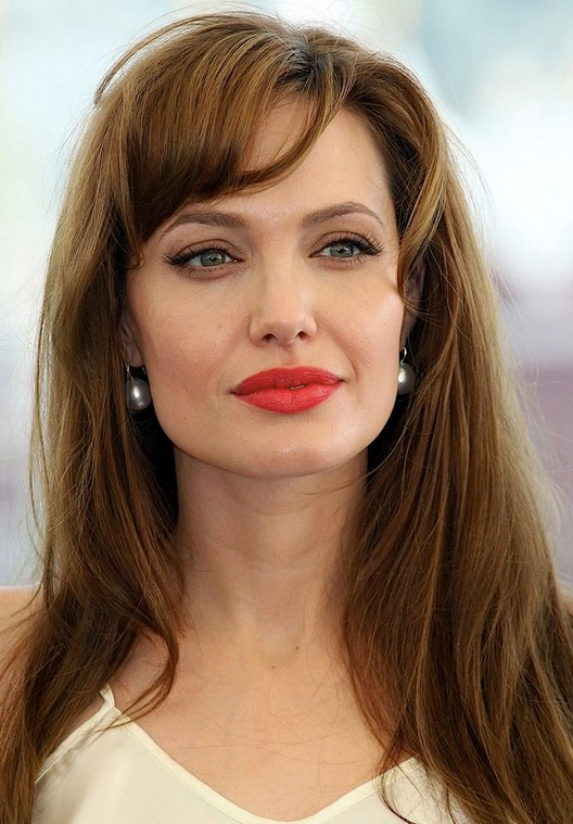 Angelina Jolie Long Hairstyle: Soft Waves with Side Part