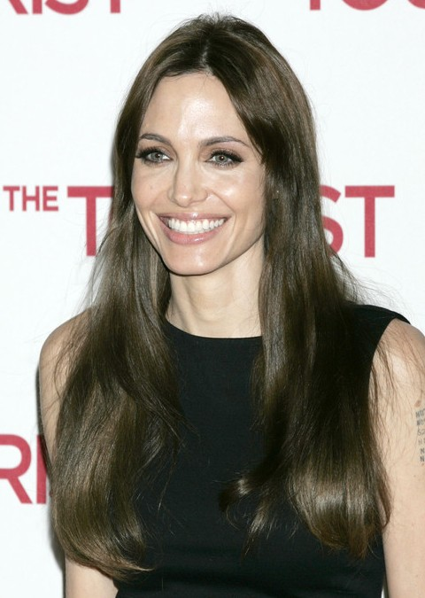 Angelina Jolie Long Hairstyle: Straight Hair with Center Part