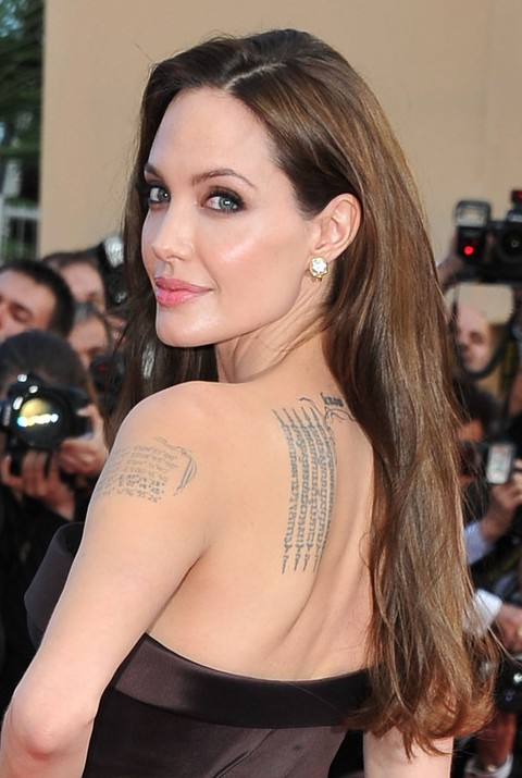Angelina Jolie Long Hairstyle: Straight Hair with Long Side Part