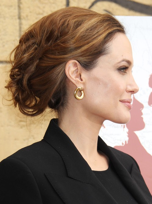 Angelina Jolie Long Hairstyle: Tousled Updo