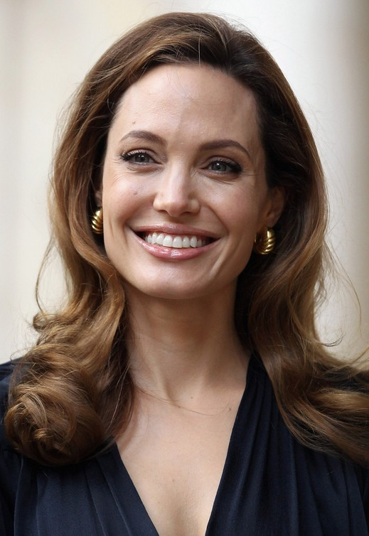 Angelina Jolie Long Hairstyles: 2014 Curls with Side Part