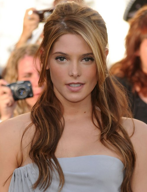 Ashley Greene Long Hairstyle Half Up Down With Side Bangs