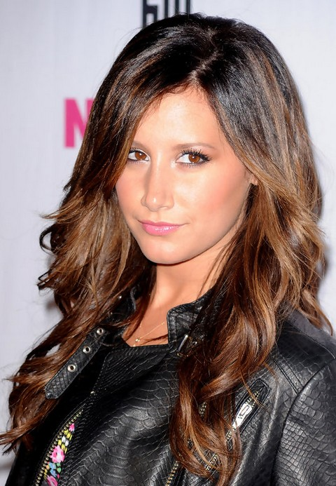 Ashley Tisdale Long Hairstyle: Curls with Side Part