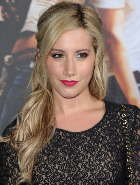 Ashley Tisdale Long Hairstyle: Side Parted Curls