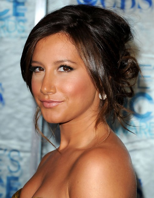 Ashley Tisdale Long Hairstyle: Twisted Bun