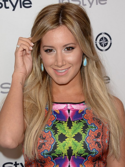 Ashley Tisdale Long Hairstyles: 2014 Half Up Half Down