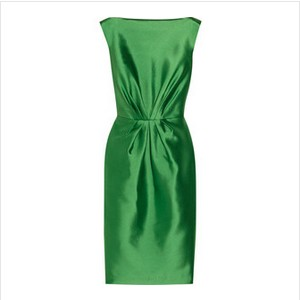 Badgley Mischka Gathered green satin dress