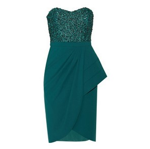 Badgley Mischka Sequin-embellished green stretch