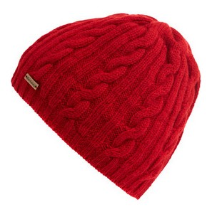 Barbour Red Cable Knit Beanie