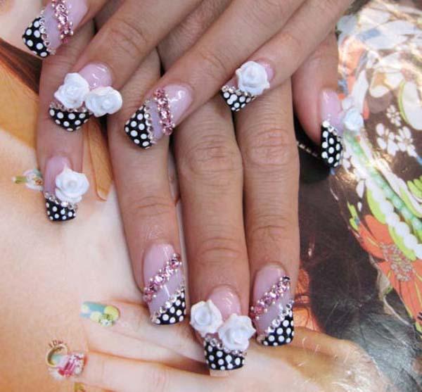 Black Polka Dots Acrylic Nail Designs