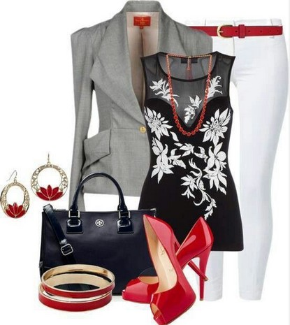 Black, grey, red outfit - Black Print Blouse. Blazer. White Skinny Jeans. Red High Heels.