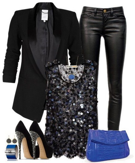 Black outfit for 2014, black suit, leather pants and sequined top