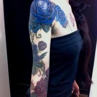 Blue Rose Tattoo on Arm: Girls Tattoos