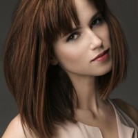 Blunt Bangs for Mid-length Long Bob Brown Hairstyle