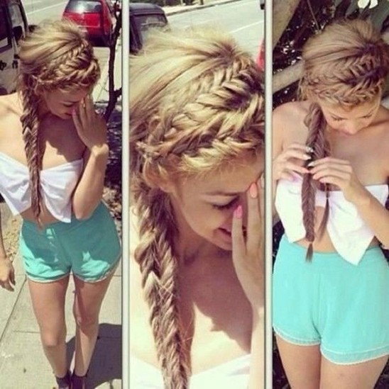 Braided Hairstyles for 2014 - Dual Braids and Side Ponytail
