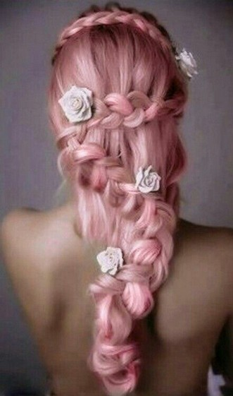 Braided Pink Hairstyle with White Roses for Long Straight Hair