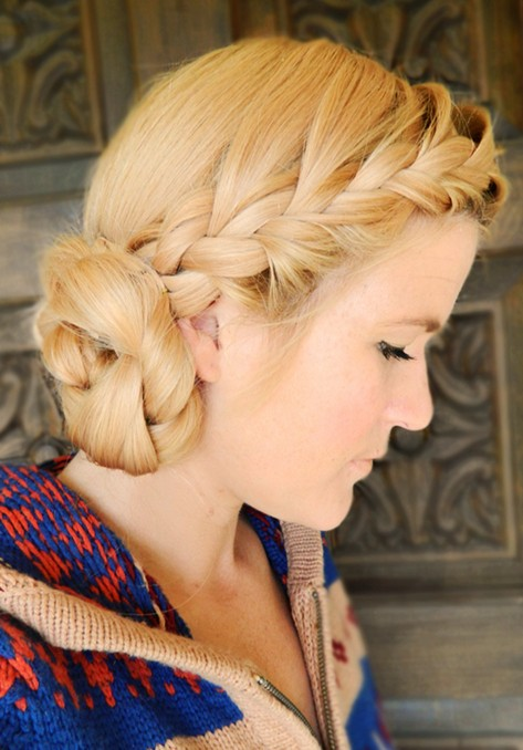 Braided Updo Hairstyles Tutorials: Double braid boho side bun