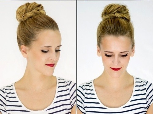 Braided Updo Hairstyles Tutorials: Fishtail braid bun Updos