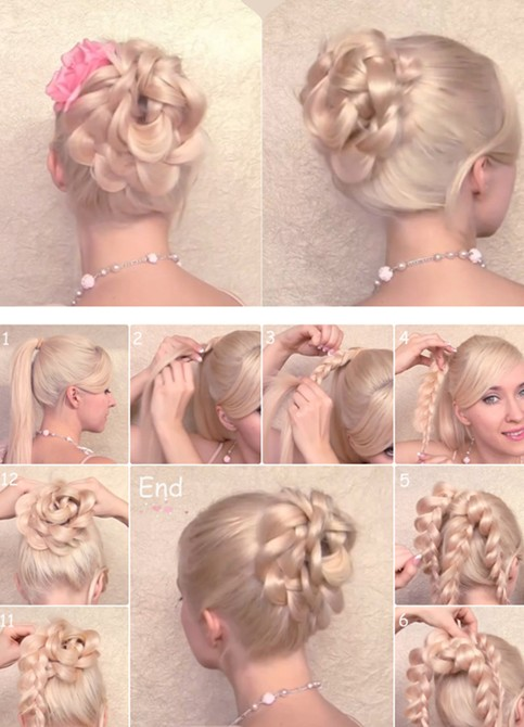 Braided Updo Hairstyles Tutorials: Flower updo for prom 2014