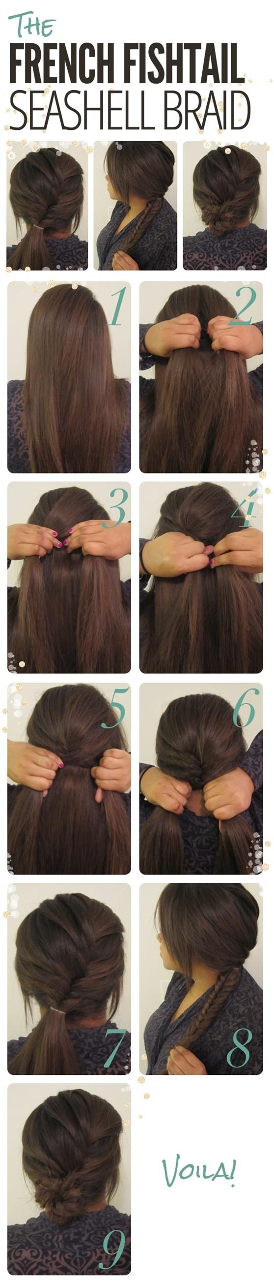 Braided Updo Hairstyles Tutorials: French fishtail seashell braid