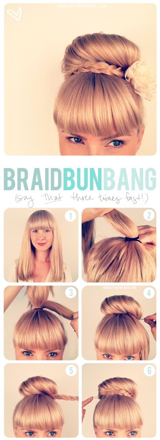Braided Updo Hairstyles Tutorials: High Bun Updos
