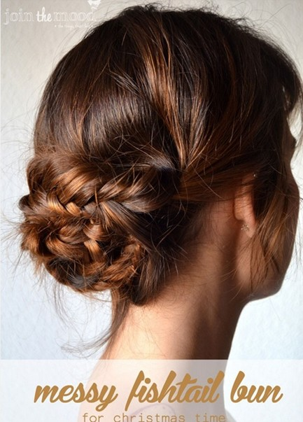 Braided Updo Hairstyles Tutorials: Messy Fishtail Bun