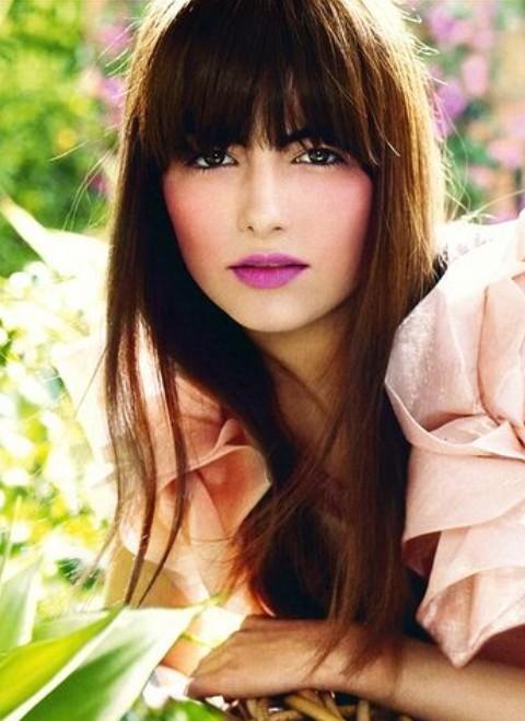 Camilla Bella Hairstyles: Brown Straight Haircut with Bangs
