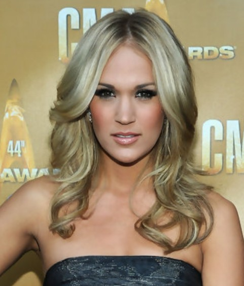 Carrie Underwood Long Hairstyle: Curls for Picture Day
