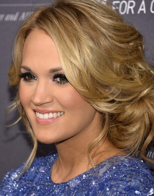Carrie Underwood Long Hairstyle: Messy Updo