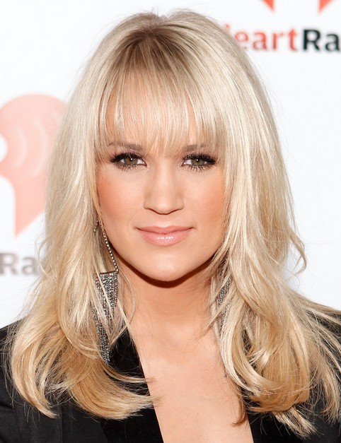 Carrie Underwood Long Hairstyle: Straight Hair with Swept Bangs