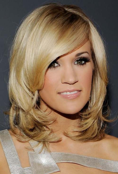 Carrie Underwood Medium Length Hair: Thick Bangs