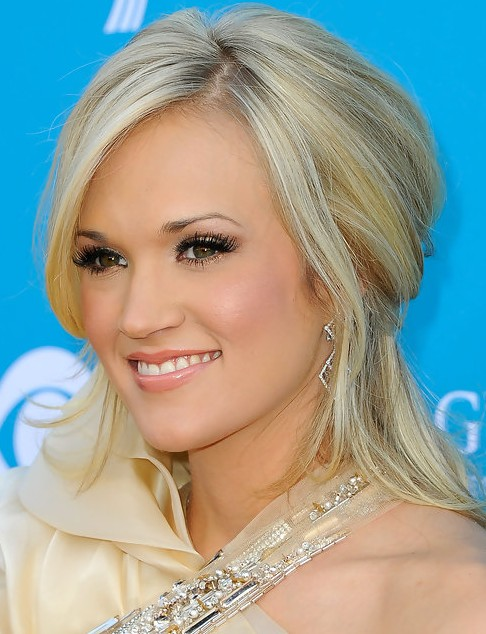 Carrie Underwood Medium Length Hairstyle: Half Up Half Down for Straight Hair